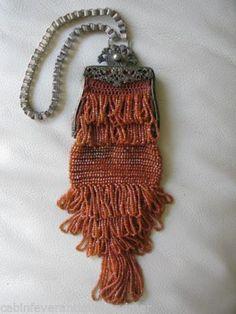 Antique Art Noveau Filigree Book Chain Crochet Orange Iridescent Bead Purse