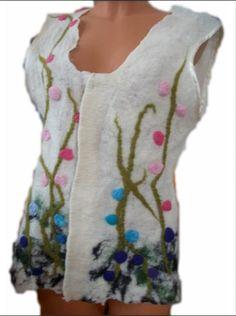 Felt vest with floral details An unique Merino wool by FeltWorld51