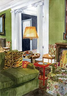 Mita Corsini Bland watercolor of a room designed by Miles Redd