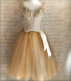 Golden brown and cream women's tutu. Creme Brulee over creamy beige tulle.. via Etsy.