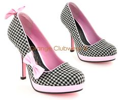 Pinup Womens Retro Fashion Houndstooth Bow Clip High Heels Rockabilly Pump Shoes | eBay