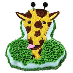 A Tall Tale Cake - Party guests will tell A Tall Tale after eating this cake. Use the megasaurus pan to create a cake that features a giraffe feasting on a meal of icing leaves.