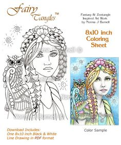 8x10 Inch Coloring Sheet by Norma J Burnell http://www.etsy.com/listing/179376794/willow-whisp-fairy-tangles-coloring?ref=shop_home_active_7