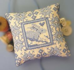Embroidered Pin Cushion with Blue Rabbit by CherieWheeler on Etsy, $14.00