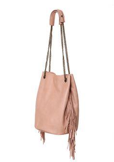 Handmade fringe bucket bag, Nude leather fringe bag, Leather fringe tote bag for…