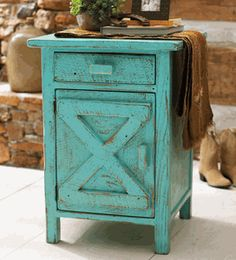 Barn Door Nightstand - Turquoise Distressed