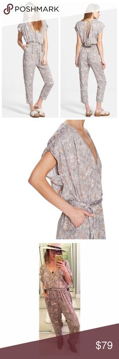 """➡️Free People Universal Surplice Jumpsuit⬅️ A flouncy tie snugs the waistline of a vintage-inspired short-sleeve jumpsuit featuring a plunging surplice front, V-back and straight-leg pants. 53"""" length; 23 1/2"""" inseam; 14"""" leg opening (size Medium). Inset front pockets. 100% viscose. Free People Pants Jumpsuits & Rompers"""