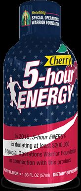 At 5-hour ENERGY® we're grateful for the sacrifices our military personnel make every day. That's why we're proud to announce that this year we will once again be supporting the Special Operations Warrior Foundation. Simply purchase a specially marked bottle of Cherry-flavored 5-hour ENERGY® now through July 31, 2015. When you do, a portion of the proceeds will help SOWF continue to provide college tuition and much-needed counseling to the families of fallen Special Ops personnel.  Last year...