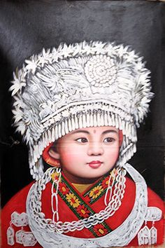 Hand Painted Chinese Folk Art Oil Painting Ethnic Minority Girl : http://www.chilture.com/hand-painted-chinese-folk-art-oil-painting-ethnic-minority-girl-p-684.html