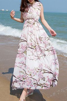 $15.66 Bohemian Flower Print Round Collar Open Back Sleeveless Dress For Women