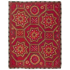 Antique Uzbeki Suzani Textile | From a unique collection of antique and modern western european rugs at http://www.1stdibs.com/furniture/rugs-carpets/western-european-rugs/
