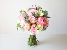 Spring 2015 Flower Trends - Pink rose bouquet with lavender | Love My Dress® UK Wedding Blog