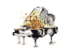 Abstract Painting Piano Music – Large Art print on Metal painting Piano Abstract Painting – Large Digital Art Print on Metal Music Painting, Music Artwork, Art Music, City Painting, Piano Art, Piano Music, Drawing Piano, Music Notes Art, Illustration Art Nouveau