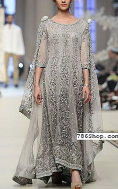 Grey Chiffon Suit | Buy Pakistani Fashion Dresses and Clothing Online in USA, UK