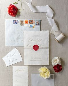 Romantic Deckle Edge Wedding Invitations with Red Wax Seal by Fourteen-Forty