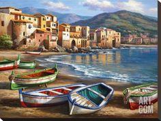 Spiaggia Della Citta Stretched Canvas Print by Sung Kim at Art.com