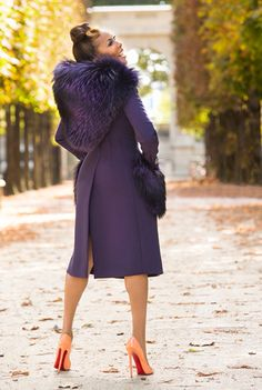 Beautiful Marjorie Harvey of The Lady Love Couture wears this GORG Dolce & Gabbana Fall/ Winter 2014 runway hooded Purple-licious coat & shares A Spirit of Thanksgiving  http://theladylovescouture.com/a-spirit-of-thanksgiving/