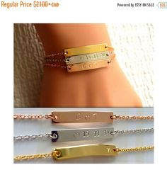BLACK FRI-WEEK SALE - Enjoy big discounts ALL WEEK! Mom Grandma Sister Gift / Kid Baby Name Bracelet / Name Initial Date Bracelet / Personalized Bridesmaid Gift / Baby Shower Gift «« DESCRIPTION »» A personalized bracelet is a marvelous way to show someone you care or to treat yourself, because, heck you deserve it! Custom jewelry holds a special sentimentality as its completely personal and allows you to wear a beautiful piece to symbolize what is special to you. Available in 3 attracti...