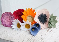Felt Wild Flowers - Set of 9