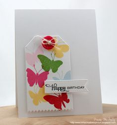 Stunning CAS Butterfly Happy Birthday Card by Tracy McNeely