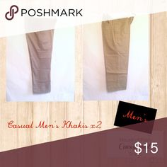 Casual Men's Khakis 2 Pair NEW. WITH ALTERATIONS. TAGGED AS 34x32. 1Pair on left is 34x28. PAIR on right is 34x26 1/2. NEVER WORN. George Pants Chinos & Khakis