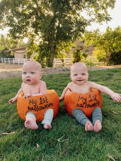 Twin Babies, Twins, Baby First Halloween, Baby Girl Photos, Halloween Pumpkins, Photo And Video, Mom, My Love, People
