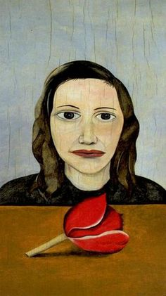 Lucian Freud - Woman with a tulip, 1945. Oil on canvas.