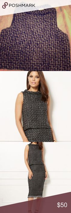 Eva Mendes Collection Black Crop Top Eva Mendes Collection Tweed Crop Top. Black with silver. Size 10. Matching pencil skirt also available in my closet. (see pictures). This outfit is gorgeous! Brand new with tags. Bundle and save! New York & Company Tops Crop Tops