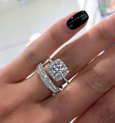 Our impressive custom handmade moissanite wedding ring set, from Camellia Jewelry, will take her breath away. Custom handcrafted in the finest details, this unique engagement ring set features a carat round cu Dream Engagement Rings, Engagement Ring Settings, Wedding Engagement, Engagement Bands, Solitaire Engagement, Engagement Rings Cushion, Ruby Wedding, Gold Wedding, Dream Wedding