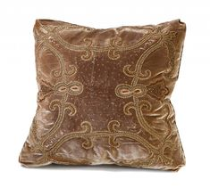Ebanista - Embroidered and hand beaded pillow on silk velvet with decorative cording.