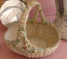 Antique barbola basket