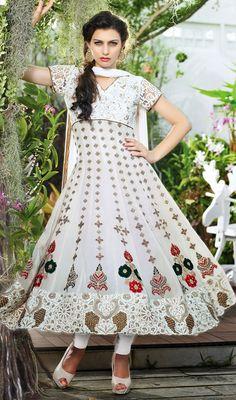 Designer Off White Georgette Embroidered Anarkali Suit Price: Usa Dollar $165, British UK Pound £97, Euro121, Canada CA$ 179, Indian Rs8910.