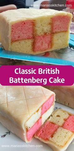 Traditional British Battenberg Cake Recipe ( Desserts, Cakes ) British Desserts, British Baking Show Recipes, British Bake Off Recipes, British Sweets, Baking Recipes, Cake Recipes, Sweet Recipes, Scottish Recipes, English Cake Recipe