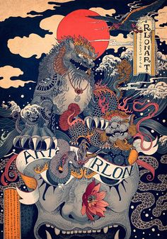 RLoN Wang's Vivid Illustrations Depict Dynamic is part of Japanese artwork RLoN Wang's Vivid Illustrations Depict Dynamic Scenes of Nature and East Asian Mythology - Art And Illustration, Japanese Illustration, Illustrations And Posters, Japanese Artwork, Japanese Painting, Japanese Prints, Japanese Art Modern, Inspiration Art, Art Inspo