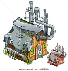 A small factory made from a residential wooden house. Vector illustration.