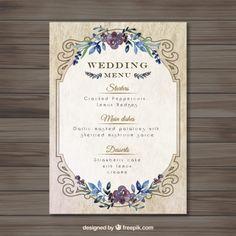 boda vintag plantilla de menú Vector Gratis                                                                                                                                                                                 Más