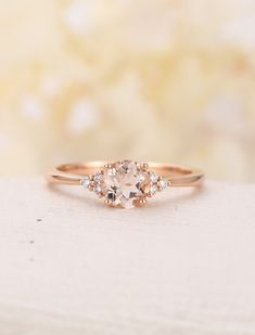 Morganite engagement ring Rose gold cluster diamond wedding antique Unique Cushion cut Bridal Jewelry Anniversary Valentines gift for women Description Vintage style Mor. Engagement Ring Rose Gold, Diamond Wedding Rings, Wedding Bands, Diamond Rings, Oval Engagement, Diamond Jewelry, Solitaire Diamond, Bridal Rings, Wedding Venues