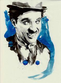 Charlie Chaplin - Parker Pen, Black and Blue Ink, illustration by Mitja Bokun, November 2012