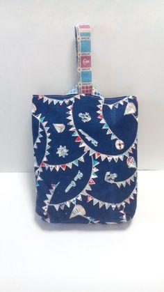 ハンドメイドマーケット minne(ミンネ)  夏の青い海ヨット柄 幼児用手作り上靴入れ 裏地付き
