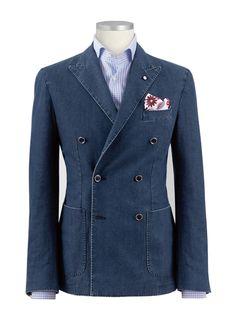 Denin double breasted blazer (forget the horrid pocket square)