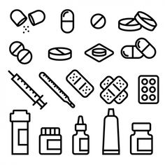 Doodle Drawings, Easy Drawings, Silhouette Cameo Free, Medical Drawings, Sketch Note, Health Icon, Medical Icon, Medical Care, Pharmacy Design