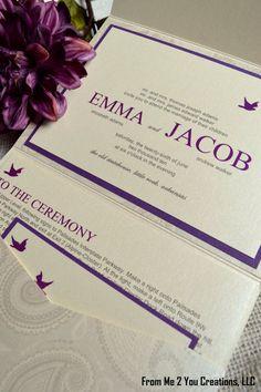 SAMPLE Cream and Purple Wedding Invitation by FromMe2YouCreations, $9.00
