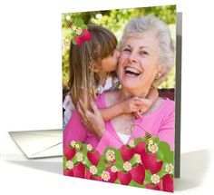 Grandma Grandparents Day Photo Card Cute Strawberries and Bees card. Personalize any greeting card for no additional cost! Cards are shipped the Next Business Day. Grandparents Day Cards, Cute Strawberry, Bee Cards, Photo Cards, Strawberries, Bees, Thank You Cards, Holiday Cards, Greeting Cards