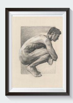 Oto akt męski, węgiel na tekturze, wykonany przez Katarzynę Gągol.  This is male nude drawing, made with charcoal on cardoard by Katarzyna Gagol. It is a crouching male nude. This beautiful piece of original art is unique and signed by artist.