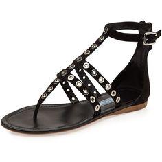 Prada Rivet Strappy Flat Thong Sandal ($730)
