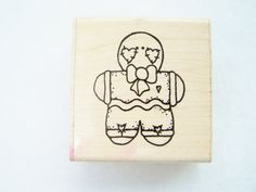 Gingerbread Man Rubber Stamp Wood Mounted Stamp by WitsEndDesign, $5.00