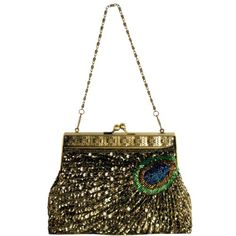MG Collection Rayna Beaded Sequin Peacock Evening Clutch Gold One Size *** Learn more by visiting the image link.