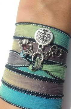 Tree of Life Silk Wrap Bracelet Om Jewelry by BohemianEarthDesigns