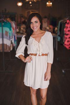 Dottie Couture Boutique - Ivory Ruffle Dress, $46.00 (http://www.dottiecouture.com/ivory-ruffle-dress/)