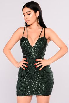 7713a66c15 Hottest Around Sequin Dress - Hunter Green Club Dresses